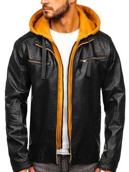 Černo-žlutá pánská koženková bunda s kapucí Bolf 6129