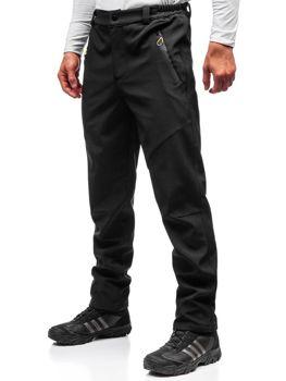 Černo-žluté pánské trekové softshellové kalhoty Bolf 5454