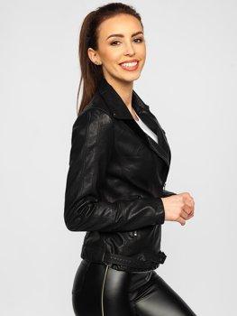 Černý dámský koženkový křivák bunda Bolf 20R9