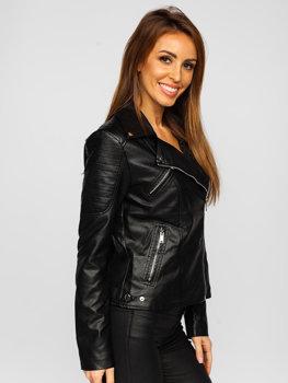 Černý dámský koženkový křivák bunda Bolf LZ20011