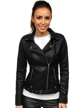 Černý dámský koženkový křivák bunda Bolf R-207