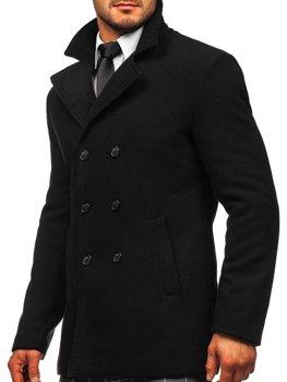 Černý pánský dvouřadový zimní kabát s výsokým limcem Bolf 8078
