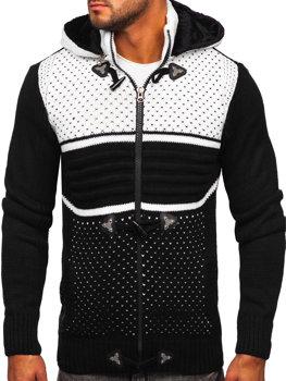 Černý pánský silný svetr na zip s kapucí bunda Bolf 2047
