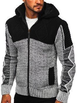 Černý pánský silný svetr na zip s kapucí bunda Bolf 2049