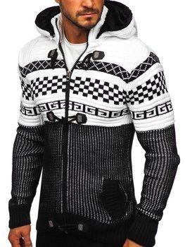 Černý pánský silný svetr na zip s kapucí bunda Bolf 2061