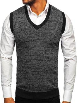 Černý pánský svetr bez rukávů Bolf 8131