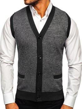 Černý pánský svetr bez rukávů Bolf 8133