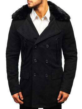 603ac3c97be Černý pánský zimní kabát Bolf 88872