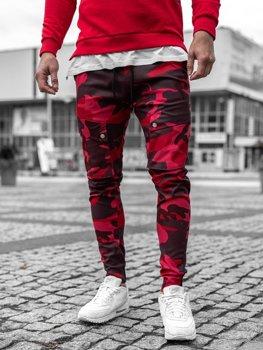 Červené pánské maskáčové jogger kapsáče Bolf 1003