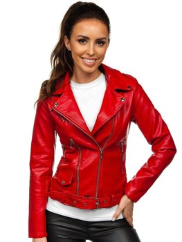 Červený dámský koženkový křivák bunda Bolf R16