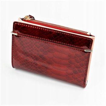 Dámská červená koženková peněženka 1054