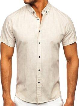 Ecru pánská bavlněná košile s krátkým rukávem Bolf 20501
