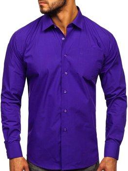Fialová pánská elegantní košile s dlouhým rukávem Bolf 0003