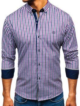 Fialová pánská kostkovaná košile s dlouhým rukávem Bolf 4712
