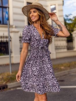 Fialové dámské vzorované šaty Bolf 6986