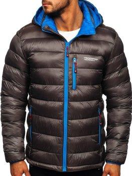 Grafitová pánská prošívaná sportovní zimní bunda Bolf BK145