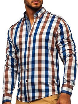 Hnědá pánská kostkovaná košile s dlouhým rukávem Bolf 2779