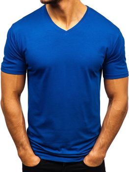 Indigo pánské tričko bez potisku s výstřihem do V Bolf 172010-A