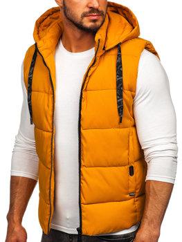 Kamelová pánská prošívaná vesta s kapucí Bolf B9702