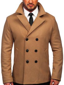 Kamelový pánský dvouřadový zimní kabát s výsokým limcem Bolf 8801