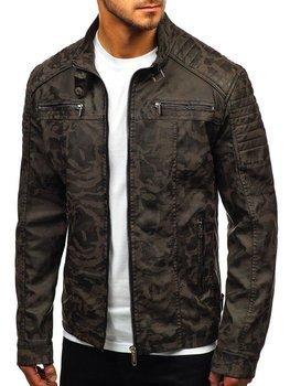 67062aa5020f Khaki maskáčová pánská koženková bunda Bolf EX920