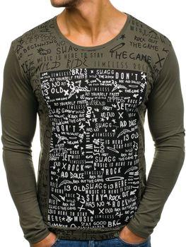 Khaki pánské tričko s dlouhým rukávem a potiskem Bolf 9108