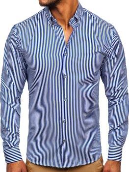 Kobaltová pánská pruhovaná košile s dlouhým rukávem Bolf 20726