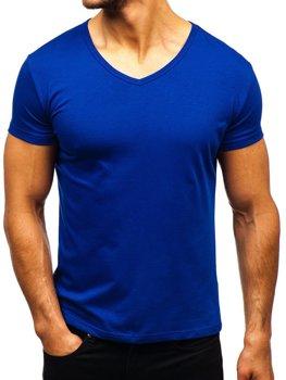 Královsky modré pánské tričko bez potisku s výstřihem do V Bolf AK888A