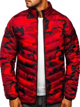 Maskáčovo-červená pánská sportovní zimní bunda Bolf SM32