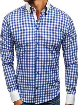 50187a9f076 Tmavě modrá pánská kostkovaná košile s dlouhým rukávem Bolf 8807