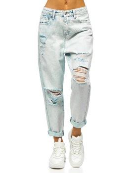 Modré dámské džíny mom fit Bolf WL1691