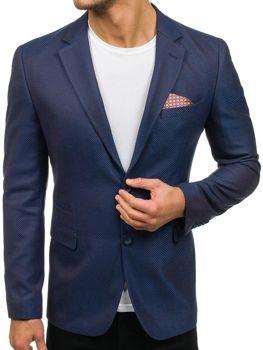 Modro-hnědé pánské elegantní sako Bolf 2222