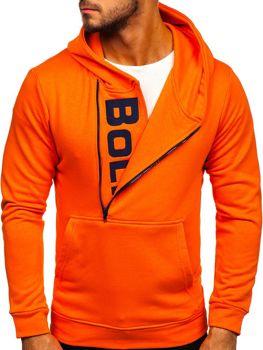Oranžová pánská mikina s kapucí a potiskem Bolf 01