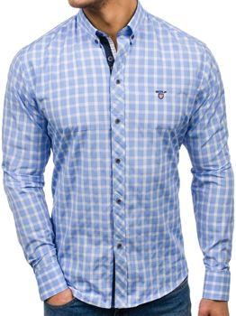 Pánská blankytná elegantní kostkovaná košile s dlouhým rukávem Bolf 4747-1