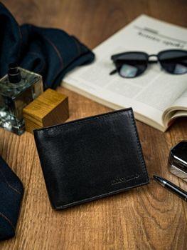 Pánská černá kožená peněženka 4589