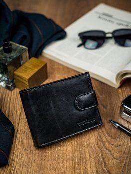 Pánská černá kožená peněženka 4590