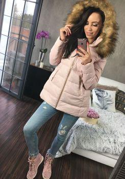 Pudrově růžová dámská zimní bunda Bolf 8070