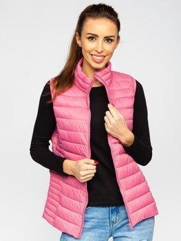 Pudrovo růžová dámská prošívaná vesta Bolf 23038