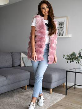 Růžová dámská kožešinová vesta Bolf MF201