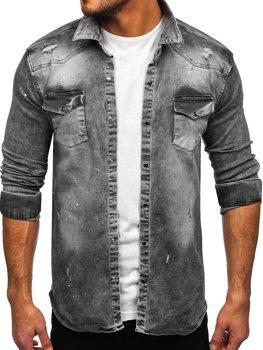 Šedá pánská džínová košile s dlouhým rukávem Bolf R711