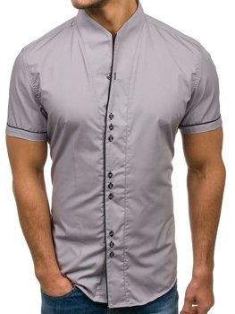 Šedá pánská košile s krátkým rukávem Bolf 5518