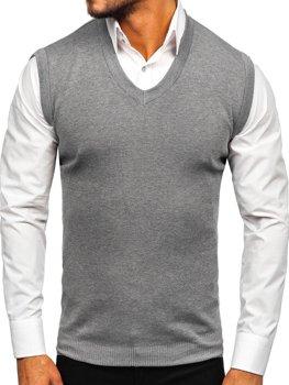 Šedá pánská pletená vesta Bolf H1950