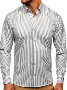 Šedá pánská pruhovaná košile s dlouhým rukávem Bolf 20726
