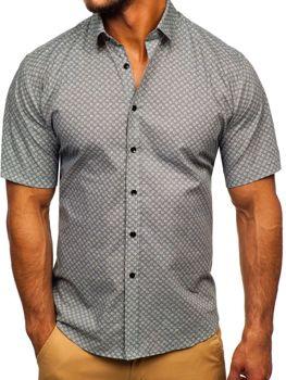 Šedá pánská vzorovaná košile s kratkým rukávem Bolf TSK101