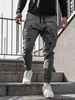 Šedé pánské jogger kalhoty Bolf 0956