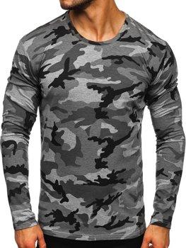 Šedé pánské maskáčové tričko s dlouhým rukávem Bolf 2088-1