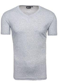 Šedé pánské tričko bez potisku s výstřihem do V Bolf T31