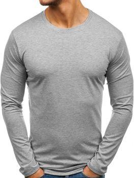 Šedé pánské tričko s dlouhým rukávem bez potisku Bolf 135