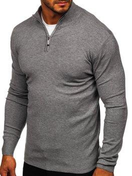 Šedý pánský svetr na zip s vysokým límcem Bolf YY08
