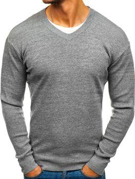 Šedý pánský svetr s výstřihem do V Bolf H1816